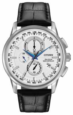 Citizen Eco-Drive Word Chrono A-T Radio Controlled Leather AT8110-02A