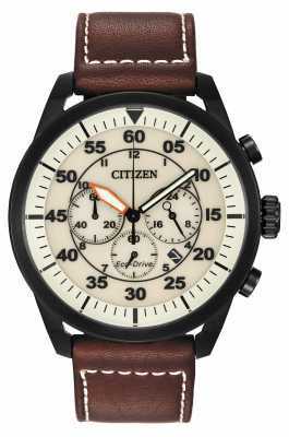 Citizen Avion Eco-Drive Brown Leather Beige Dial CA4215-04W