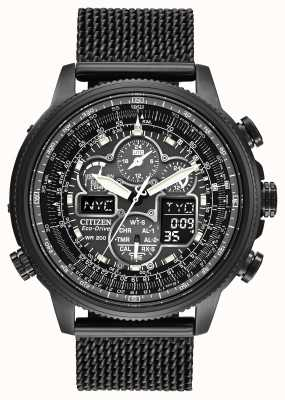 Citizen Navihawk A-T Black IP Plated Eco-Drive Radio Controlled JY8037-50E