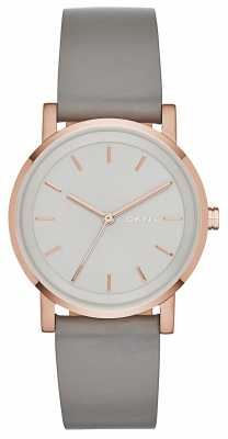 DKNY Womens SoHo Grey Leather Strap Rose Gold PVD NY2341