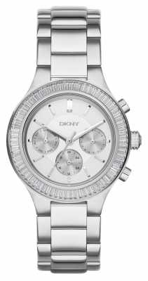 DKNY Womens Chambers Stone Set Chrono Stainless NY2394