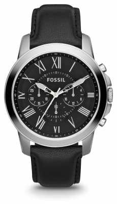 Fossil Mens Grant Black Leather Strap Black Dial FS4812