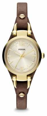 Fossil Womens Georgia Gold PVD Plated Leather ES3264