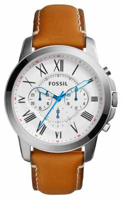 Fossil Mens Grant Brown Leather Strap White Dial FS5060