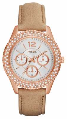 Fossil Womens Stella Rose Gold PVD Leather ES3816