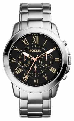 Fossil Mens Grant Stainless Steel Black Dial FS4994