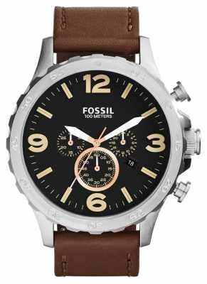 Fossil Mens Nate Brown Leather Strap Black Dial JR1475