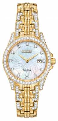 Citizen Womens Silhouette Crystal Set Gold PVD Plated EW1222-84D