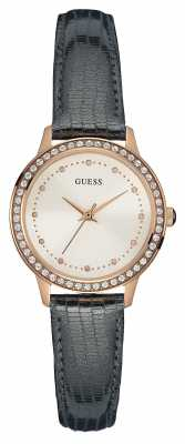 Guess Womens Chelsea Leather Strap Rose Gold Case W0648L2