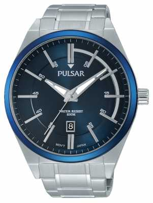 Pulsar Mens Stainless Steel Blue Dial PS9363X1