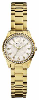 Guess Womens Desire Gold Strap White Dial W0445L2