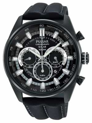 Pulsar Mens WRC Black Leather Chronograph PX5015X1