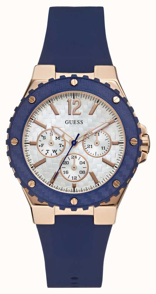 Guess Womens Overdrive Blue Rubber Strap W0149L5 - First ...
