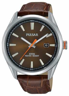 Pulsar Mensbrown Leather Strap Brown Dial PS9379X1