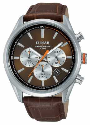 Pulsar Mens Chrono Brown Leather Strap Brown Dial PT3723X1