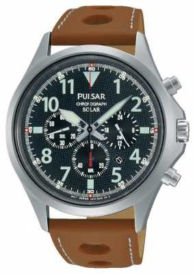 Pulsar Mens Chrono Brown Leather Strap Black Dial PX5023X1