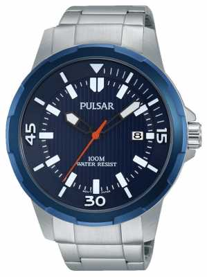 Pulsar Mens Stainless Steel Blue Dial PS9367X1