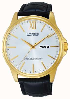 Lorus Mens Black Leather Strap Silver Dial RXN16DX9
