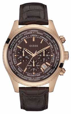 Guess Mens Pursuit, Brown, Rose-Gold Chrono W0500G3