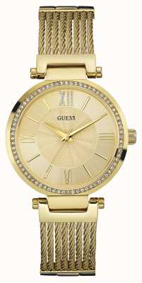 Guess Womens SOHO Gold Pvd Plate, Crystal Watch W0638L2