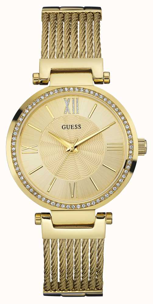 Guess Womens SOHO Gold Pvd Plate, Crystal Watch W0638L2 ...