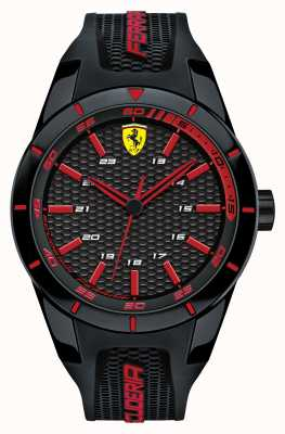 Scuderia Ferrari Red Rev Black Silicone Strap Black red Dial 0830245