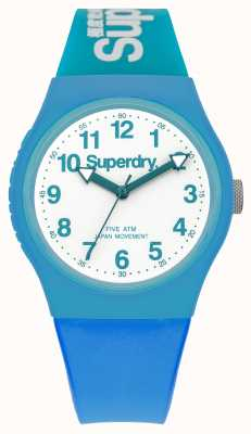 Superdry Mens Urban Blue Rubber Strap White Dial SYG164AUW