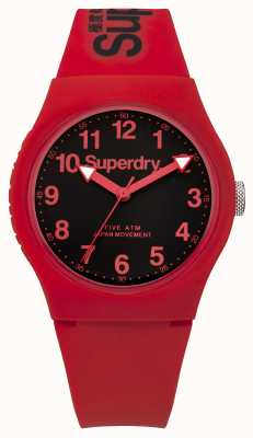 Superdry Mens Urban Red Strap Black Dial SYG164RB