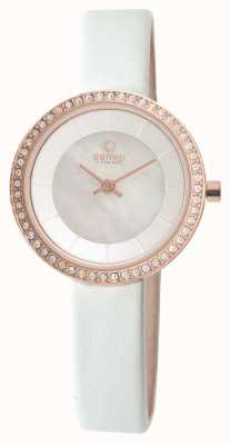 Obaku Womens White Leather Strap Rose Gold PVD V146LEVWRW