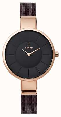 Obaku Womens Brown Mesh Bracelet Rose Gold PVD V149LXVNMN