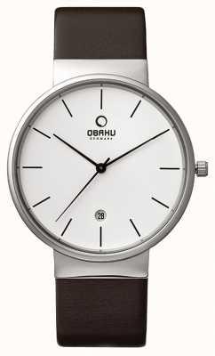 Obaku Mens Brown Leather Strap White Dial V153GDCIRN