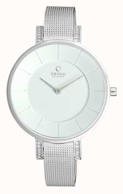 Obaku Womens Stainless Steel Mesh Silver Dial V158LECIMC