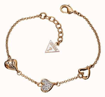 Guess Womens Triple Heart Station Rose Gold Plate UBB71332