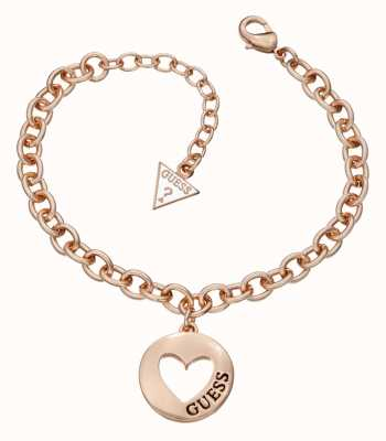 Guess Womens G Girl Heart Coin Bracelet Rose Gold UBB51436