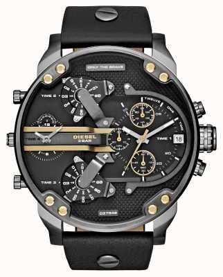 Diesel Mens Mr Daddy 2.0 Black Leather Chronograph DZ7348