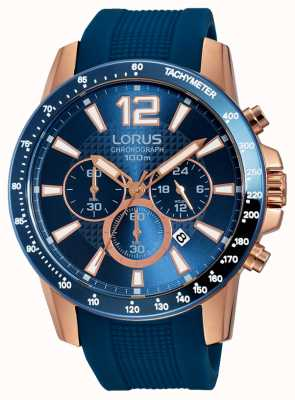 Lorus Mens Blue Silicone Strap Rose Gold RT392EX9