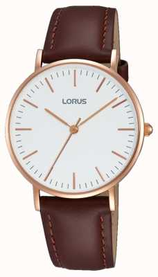 Lorus Womens Brown Leather Strap White Dial RH886BX9