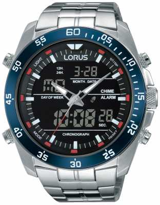Lorus Mens Dual Time Stainless Steel RW623AX9