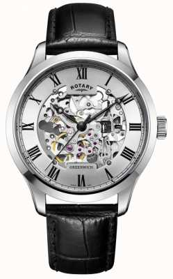 Rotary Men's Skeleton Automatic Leather GS02940/06