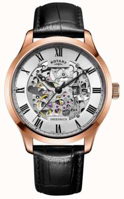 Rotary Mens Skeleton Automatic Rose Gold Brown Strap GS02942/01