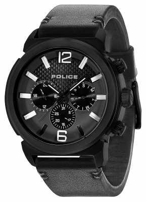 Police Mens Concept Black Leather Strap Black Dial 14377JSB/02A