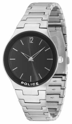Police Mens Downtown Stainless Steel Black Dial 14565MS/02M