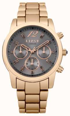 Lipsy Womens Rose Gold Grey Dial LP392