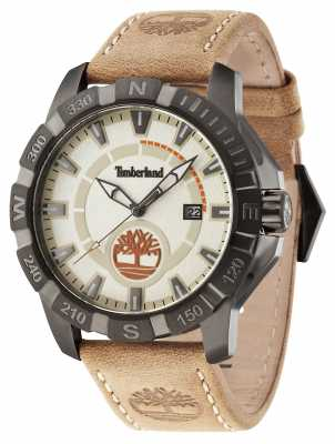 Timberland Mens Harling Brown Leather Strap Beige Dial 14491JSU/07