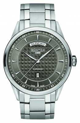 Roamer Mens Superior Stainless Steel, Grey Dial 508293410550