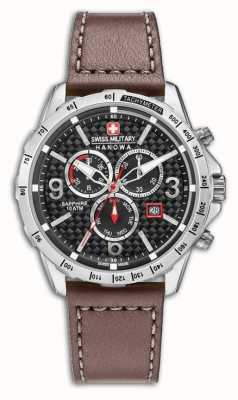 Swiss Military Hanowa Mens Ace Brown Leather Strap Black Dial 6-4251.04.007