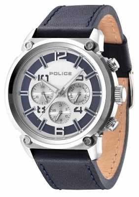 Police Mens Armor Black Leather Strap Silver Dial 14378JS/04