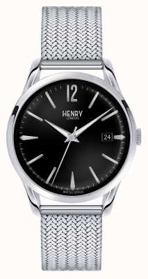 Henry London Edgware Stainless Steel Mesh Black Dial HL39-M-0015
