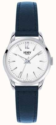 Henry London Knightsbridge Blue Leather Strap White Dial HL25-S-0027