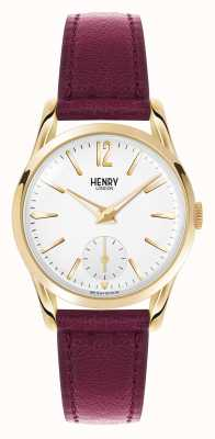 Henry London Holborn Deep Red Leather Strap White Dial HL30-US-0060